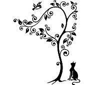 Cat under tree clipart.