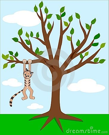 Cat in the tree clipart.