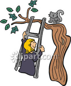 Free clipart cat in tree.