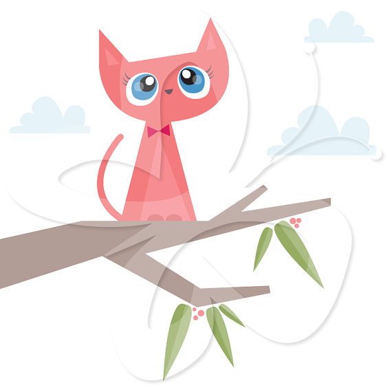 Cat stuck in tree clipart.
