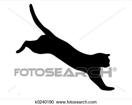 Cat jumping Clipart.