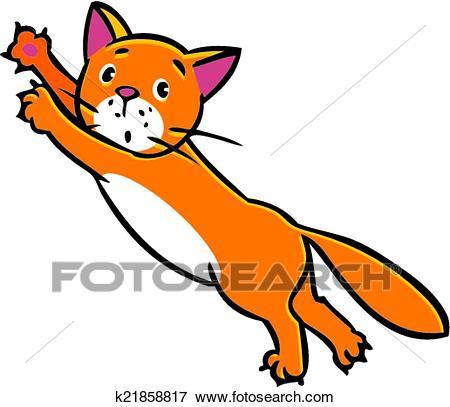 Jumping cat Clip Art.