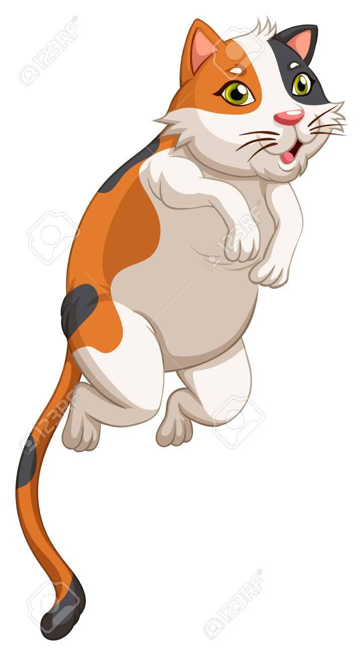 Little cat jumping up illustration.