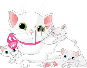 Royalty Free Clipart Image of a Mother Cat and Kittens.