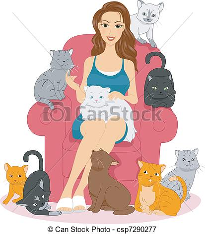 Lady cat Clip Art and Stock Illustrations. 831 Lady cat EPS.
