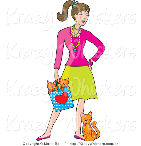 Kitty Clipart of a Stylish Lady with a Cat at Her Feet and Kittens.