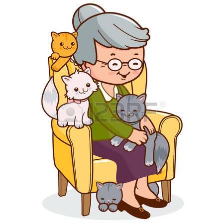 cat lady clipart #15