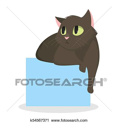 Cat laying down. Clipart.