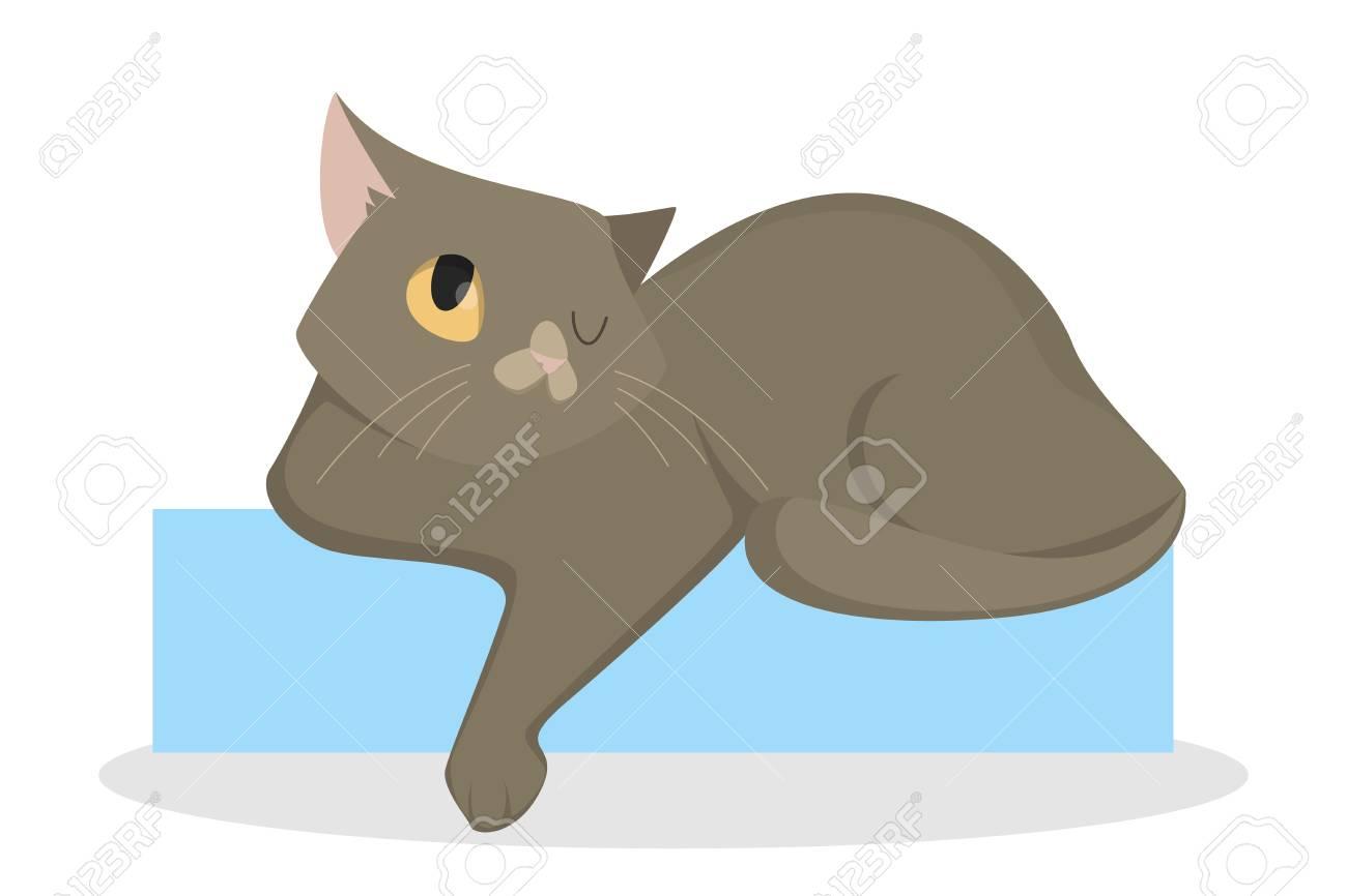Cat laying down. Lazy sleepy cartoon animal..