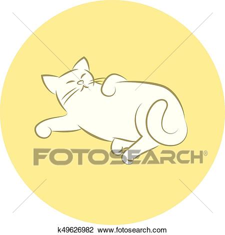 Happy Cat Laying Down Clipart.