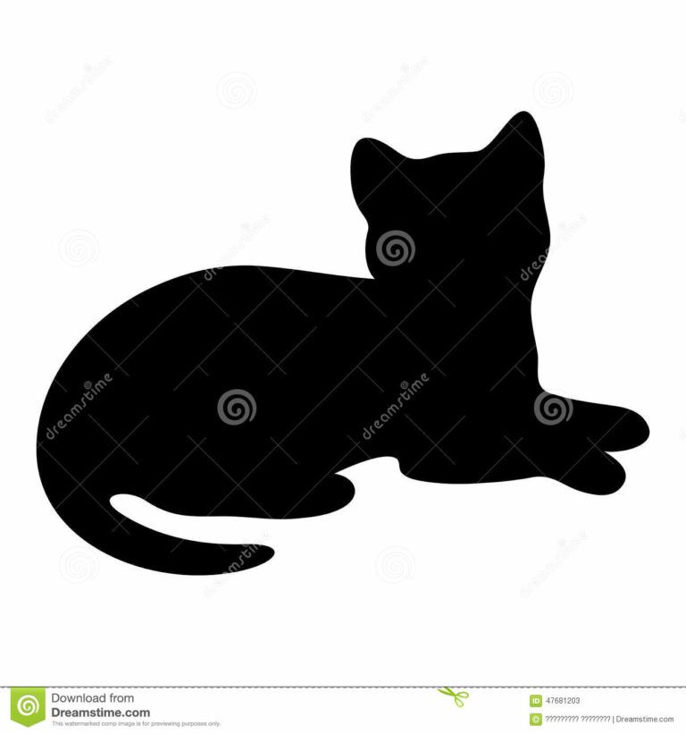 Cat Silhouette Lying Floor Black 47681203 Laying Down Clipart.