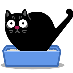 Cat, cat litter, litterbox, poo icon.