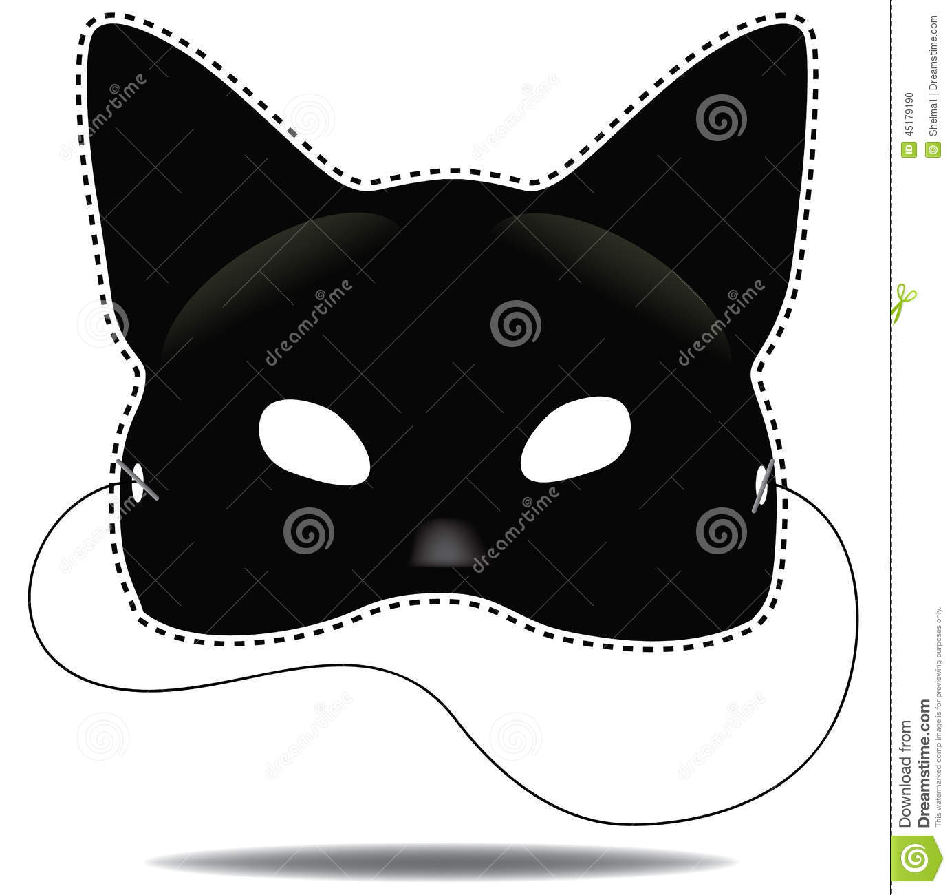 Black Cat Mask On White Stock Vector.
