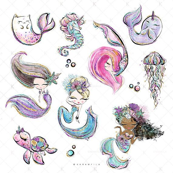 Mermaid Clipart Unicorn Clipart Underwater Clipart Cute.
