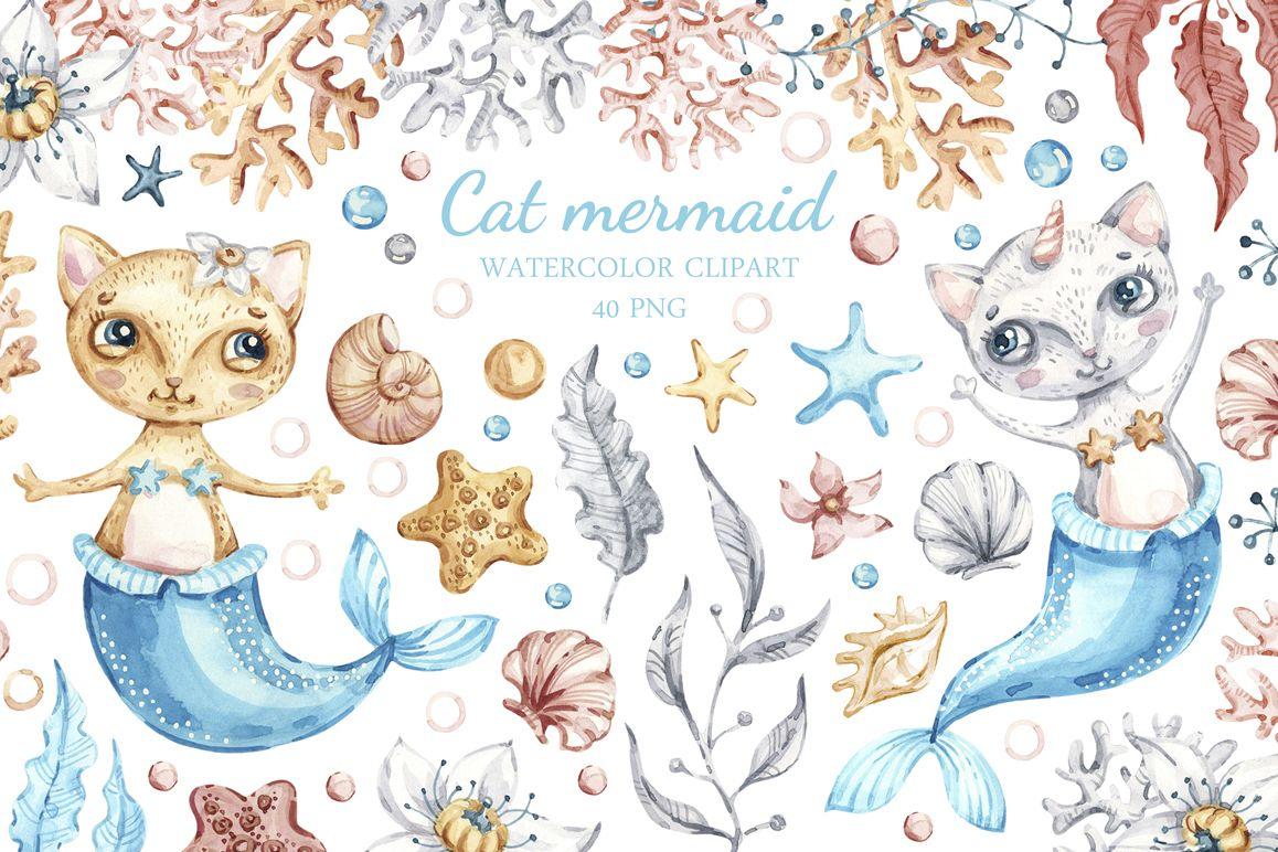 Watercolor Cat Mermaid clipart. Seashells clip art.