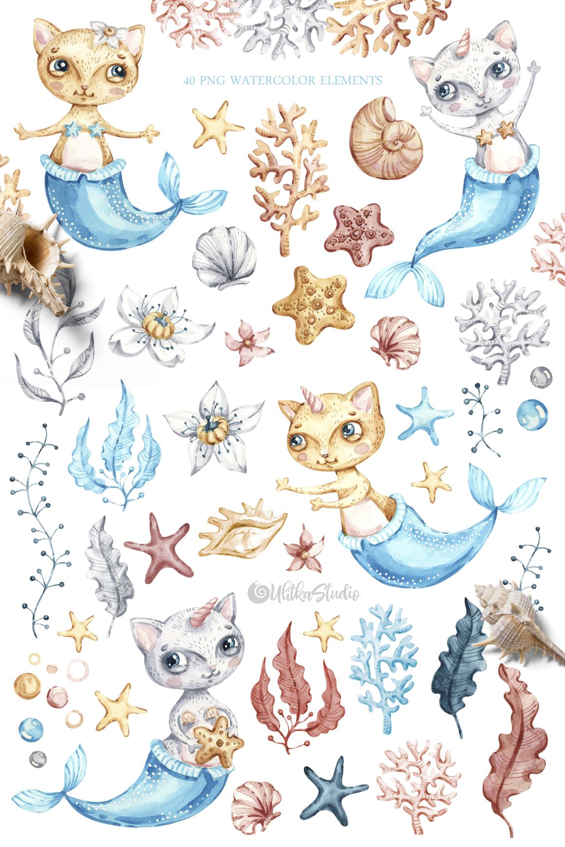 Watercolor cute mermaid cat clipart. Nautical underwater.