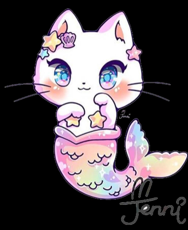 cat mermaid mermaidtail kitty kawaii cute pastel rainbo.