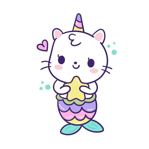 Kawaii Cat Unicorn mermaid cartoon.