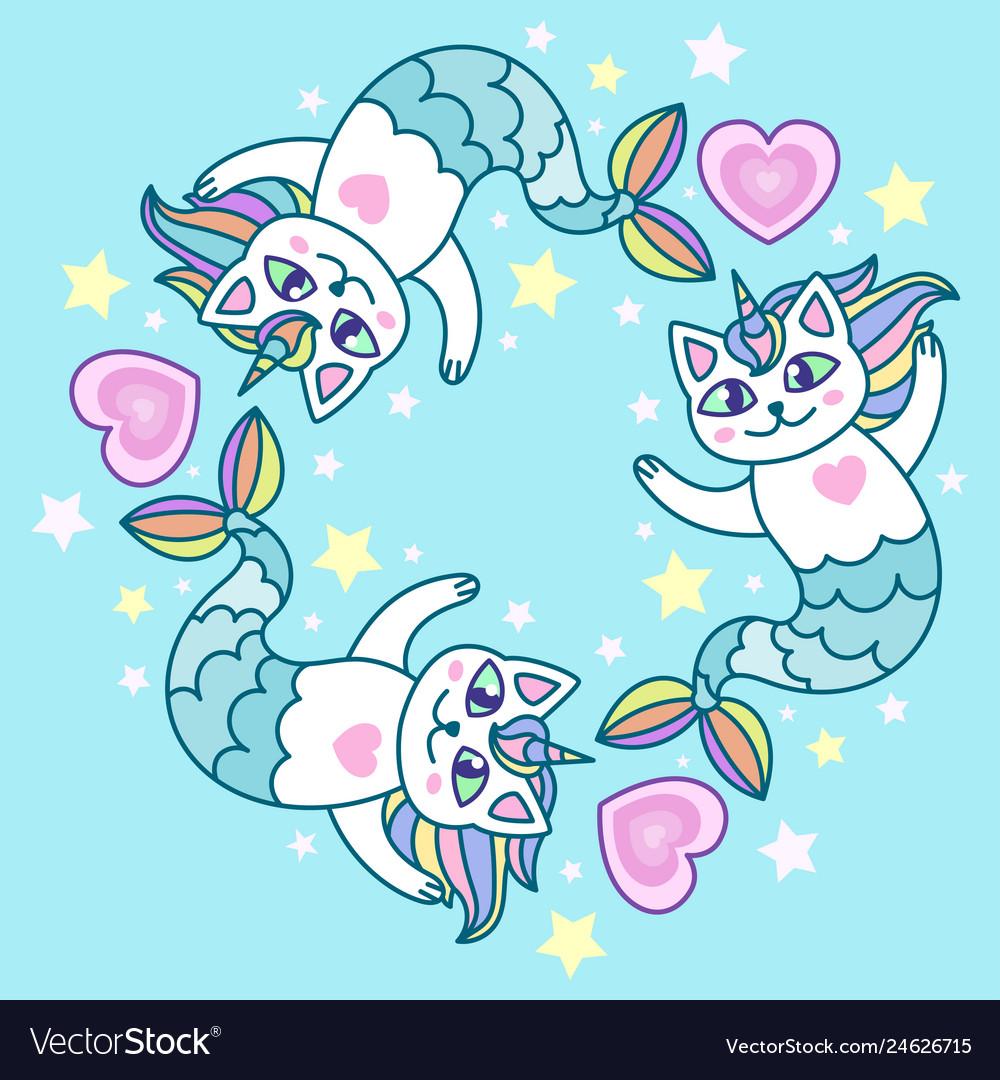 Cute cat mermaid.
