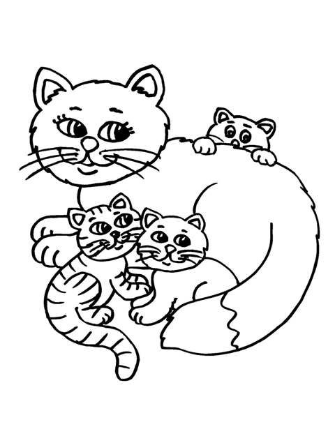 Mother and baby animals clipart black and white.