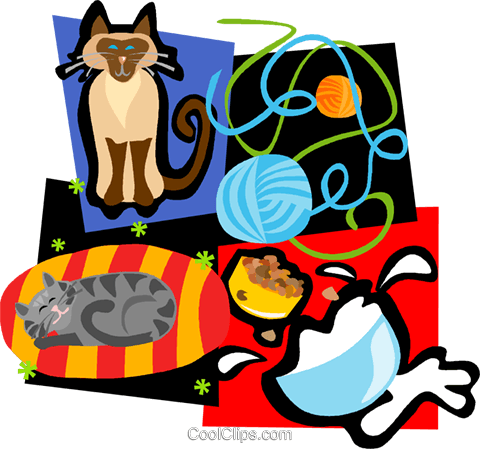 cat motif, cats, yarn, milk Royalty Free Vector Clip Art.
