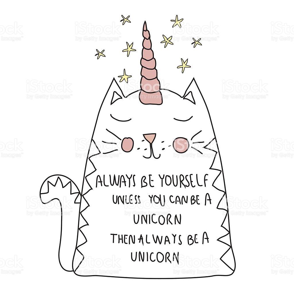 Cute Cat Unicorn With Motif For T Shirt Postcard stock vector art.