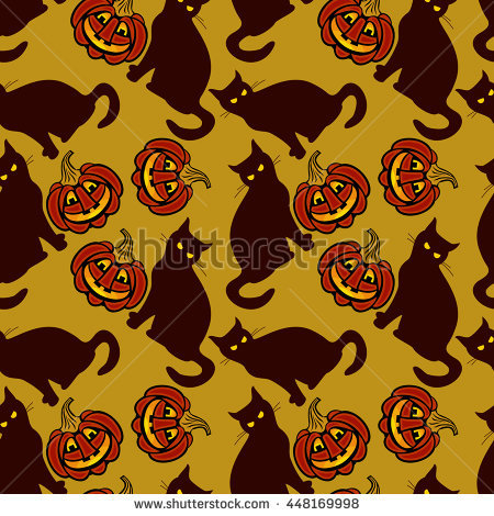 Seamless Pattern With Halloween Pumpkins And Evil Cat. Vector Clip.