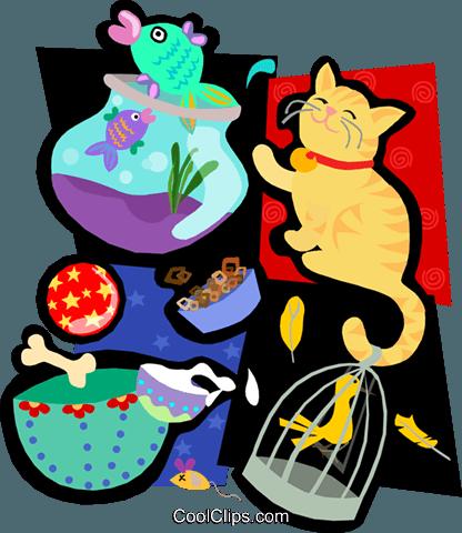 animal motif, cat, fish, bowl Royalty Free Vector Clip Art.