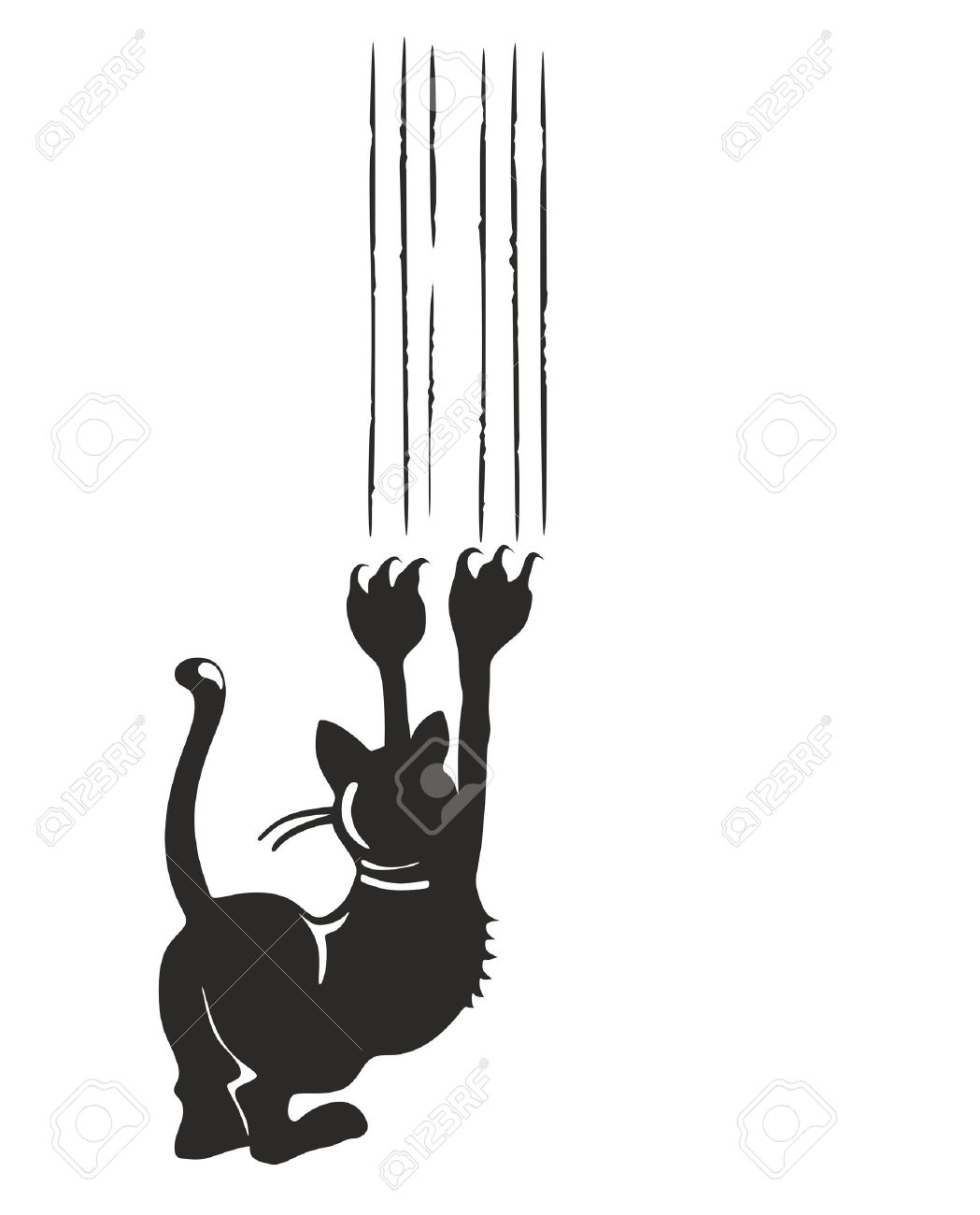 Illustration Of A Black Cat Leaving Claw Marks On A Surface Stock.