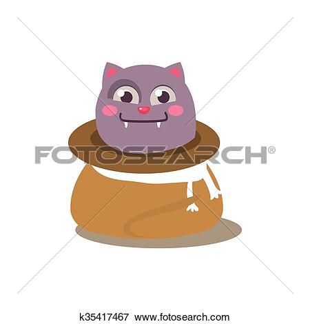 Clip Art of Cat Hiding In Sack k35417467.