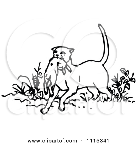 Clipart Vintage Black And White Cat With Prey.