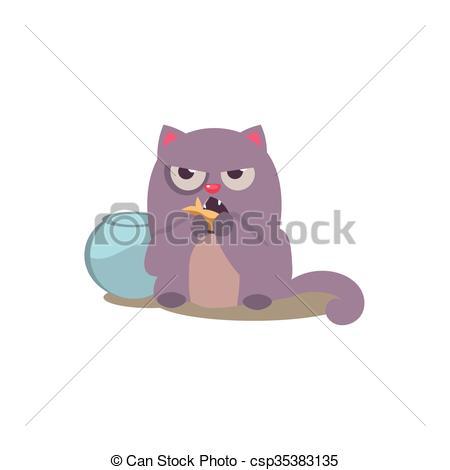 Vectors of Cat Eating Golden Fish Adorable Emoji Flat Vector.