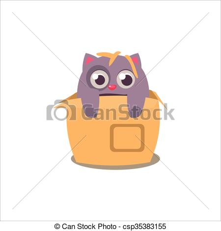 Clipart Vector of Cat Emerging From Box Adorable Emoji Flat Vector.