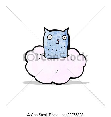Vector Illustration of cartoon cat on cloud csp22275323.