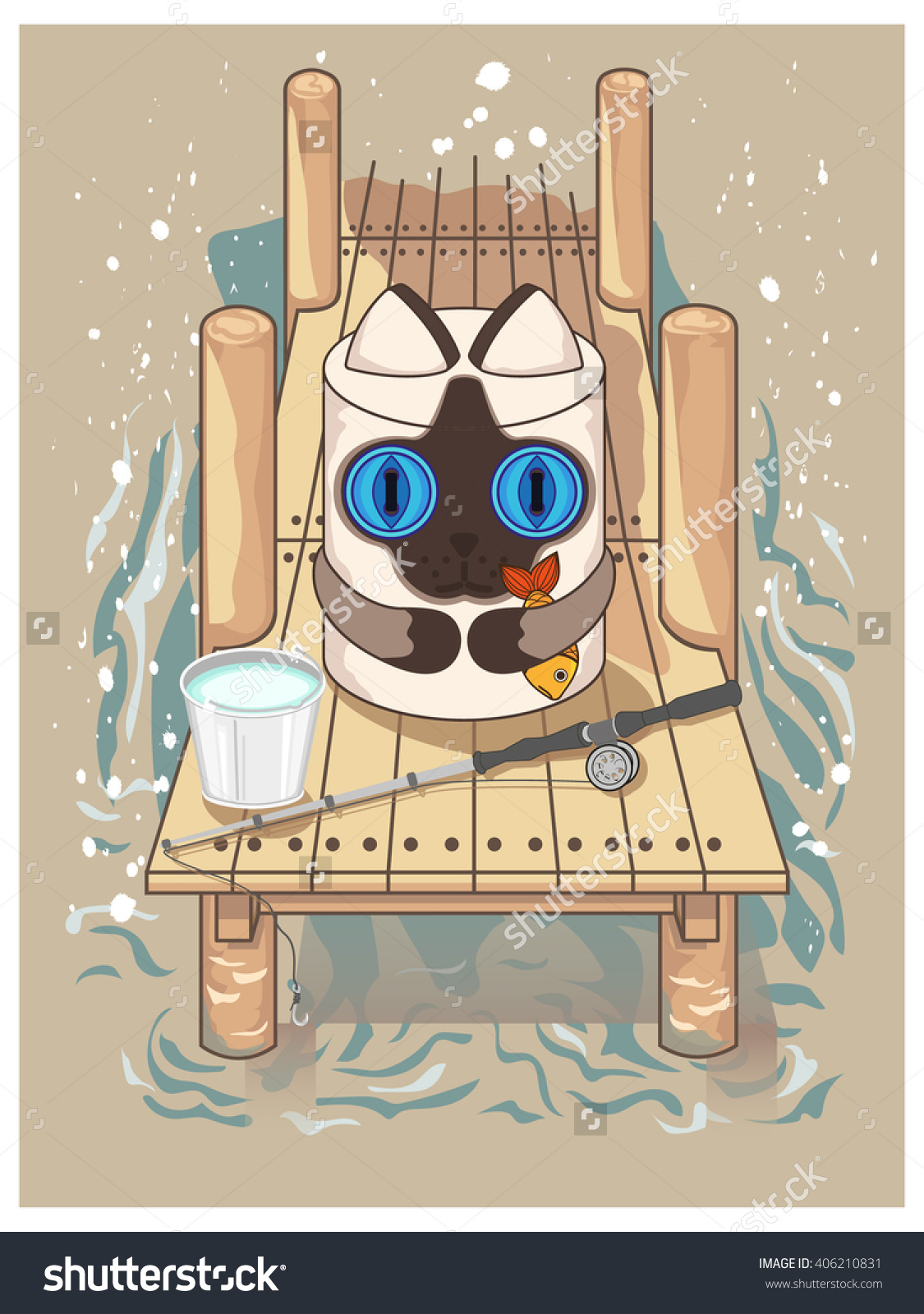 Vector Illustration Of A Cute Cat. Cat On A Fishing Trip On The.
