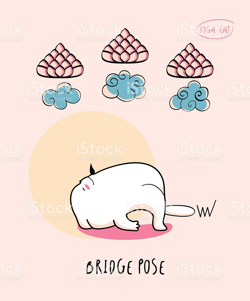 Yoga Cat In Bridge Pose stock vector art 543220184.