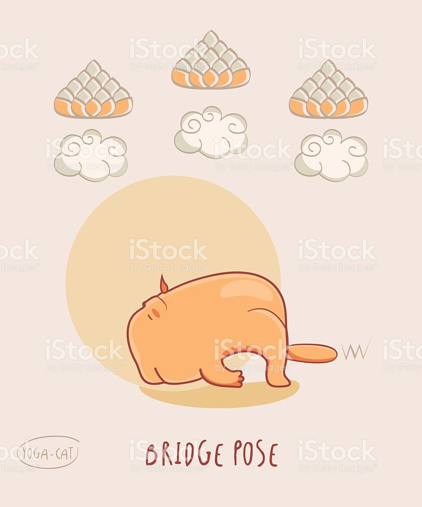 Red Yoga Cat In Bridge Pose stock vector art 544560216.