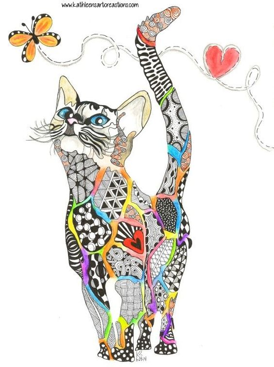 "Whimsical Zentangle cat named ""Rainbow Kitty"" dedicated to all the."