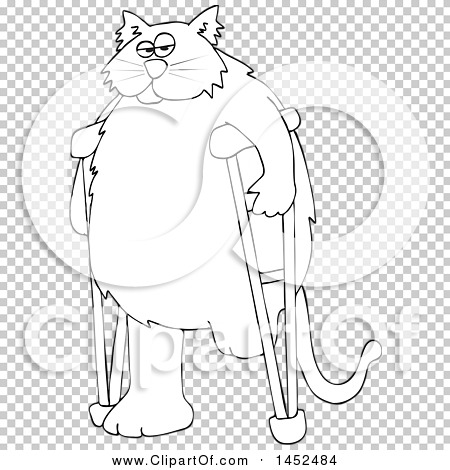 Clipart of a Cartoon Black and White Lineart Chubby 3 Legged Cat.