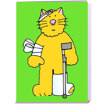 Cat well soon cat on a crutch. greeting card by Kate Taylor.