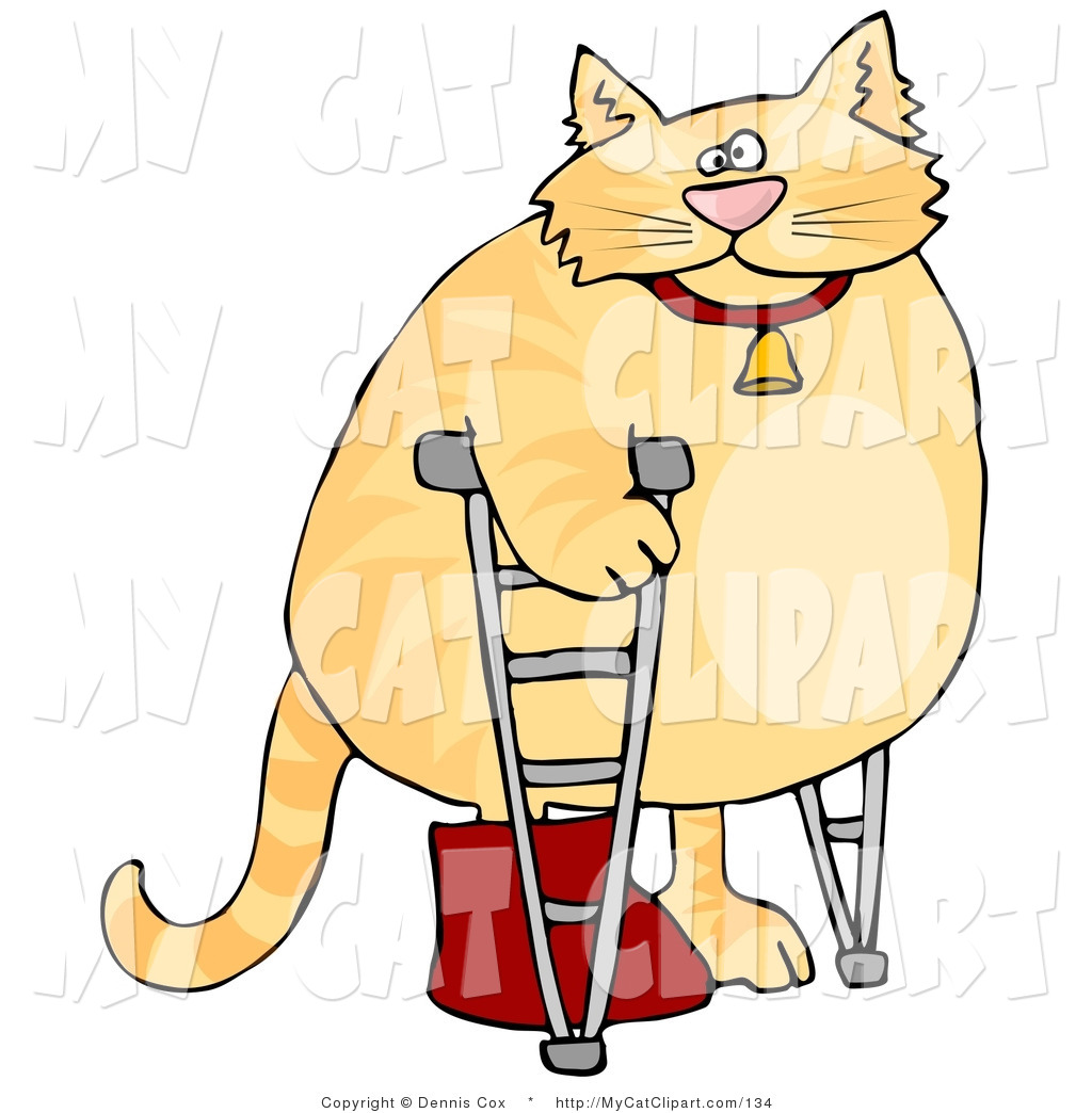 Clip Art of a Chubby Orange Tom Cat Walking on Crutches in a.