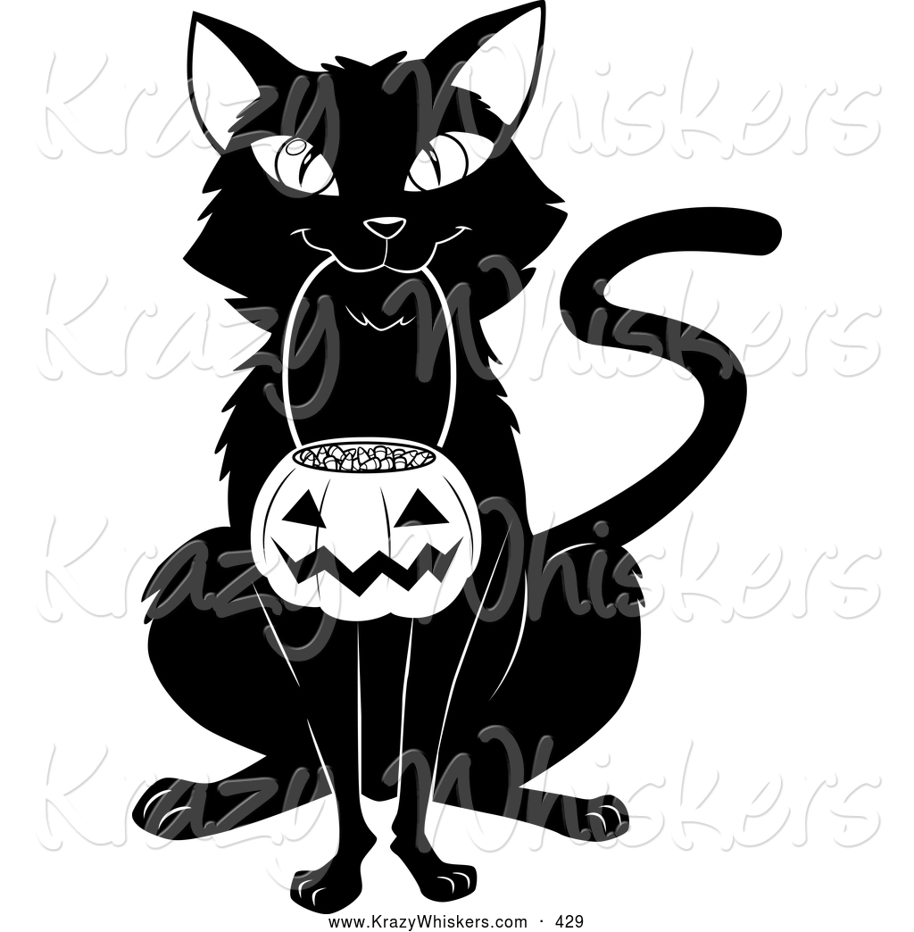 Critter Clipart of a Cheerful Black Cat Sitting and Carrying a.