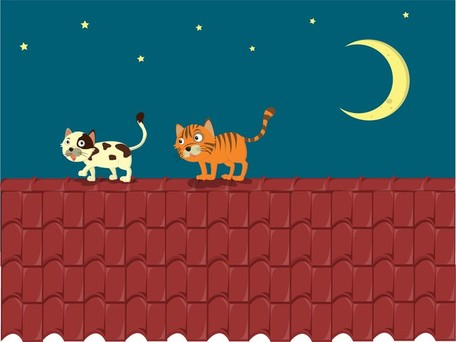 Vector Cat On The Roof, vector graphics.