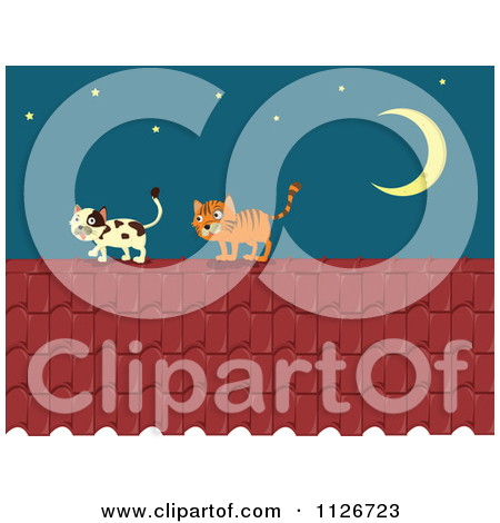 Cartoon Of Cats On A Roof Top At Night.