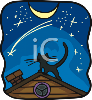 Clipart Picture of a Cat on the Roof at Night.