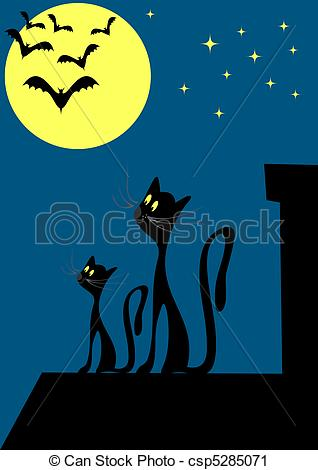 Vector Clip Art of Cats on the roof vector illustration with night.