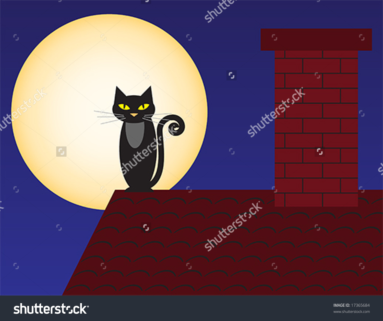 Vector Illustration Of A Cat On The Roof Against The Full Moon.