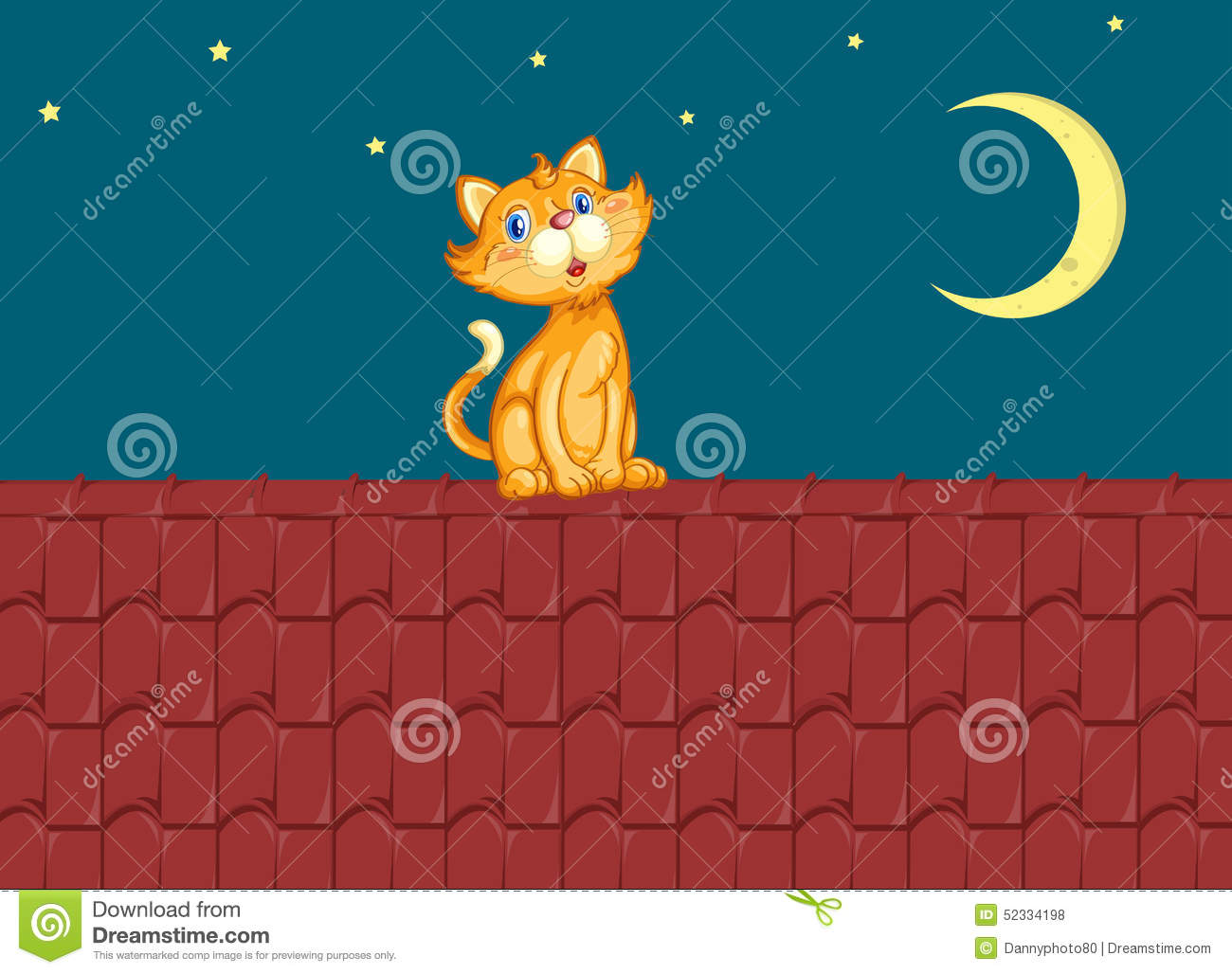 Cat And Roof Stock Vector.