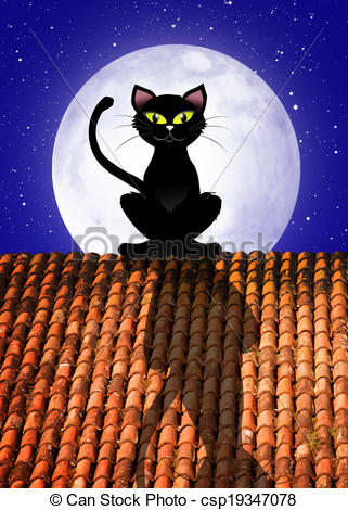 Stock Illustrations of Cat on roof.