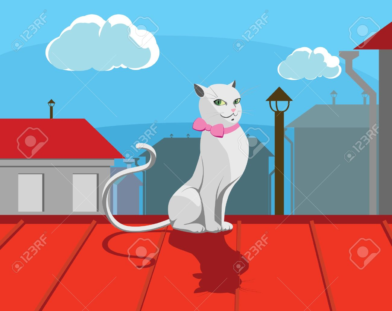 White Cat With Pink Bow Sits On Roof Royalty Free Cliparts.